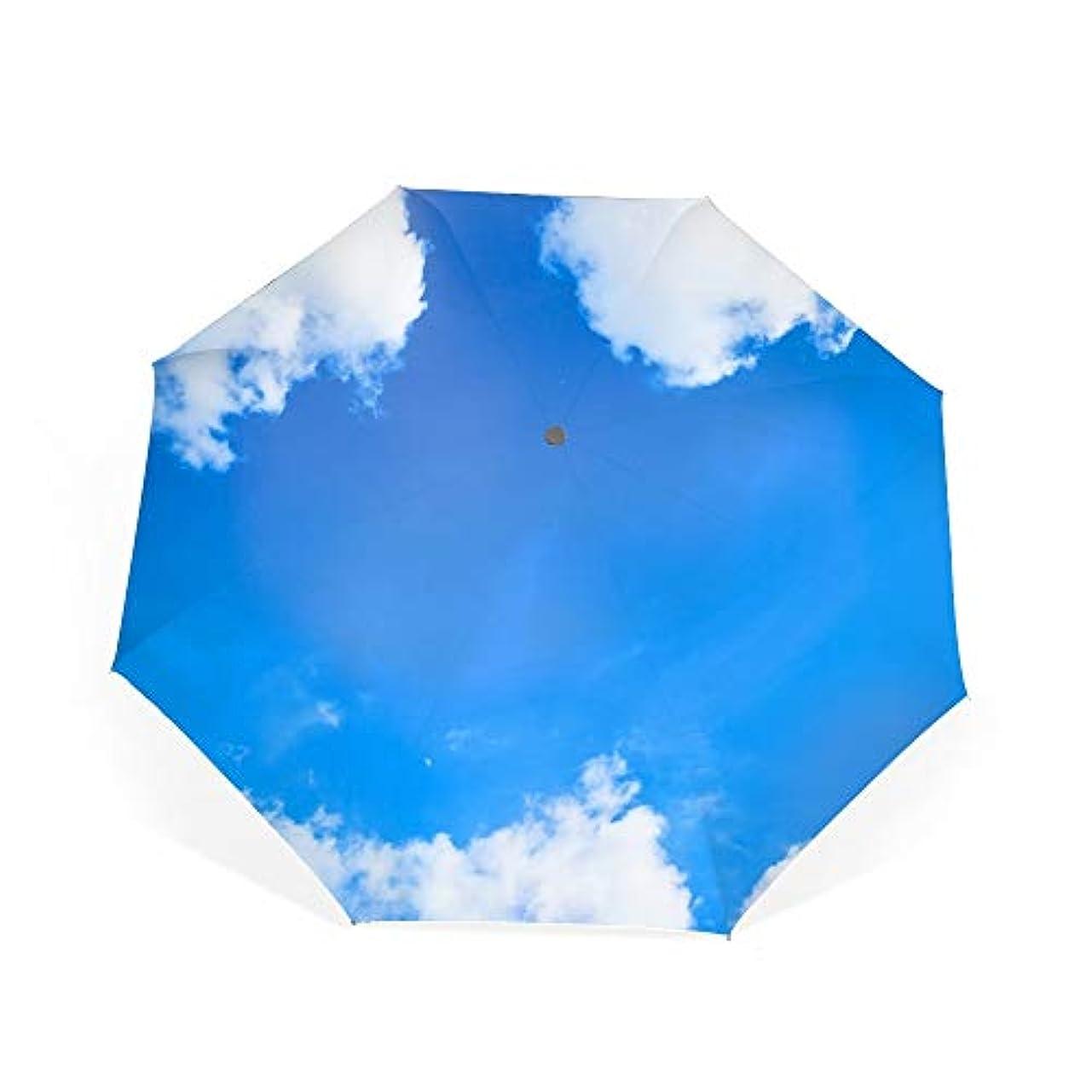 に賛成次へチェスをする日傘 100%遮光 折りたたみ傘 UV カット 紫外線対策 軽量 小型 女性 8本骨 遮熱 撥水 涼しい 可愛い お洒落 高密度PG布 晴雨兼用 男女兼用 青い空白い雲空