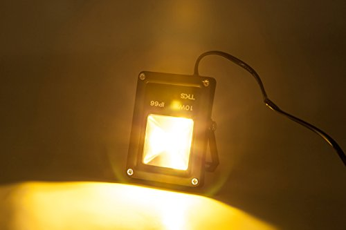 10W 電球色(オレンジ系発光色) LED投光器 100Wハロゲンランプ代替品 省エネ 広角 ACプラグ付属 防水仕様 投光機 フラッドライト 看板灯 作業灯