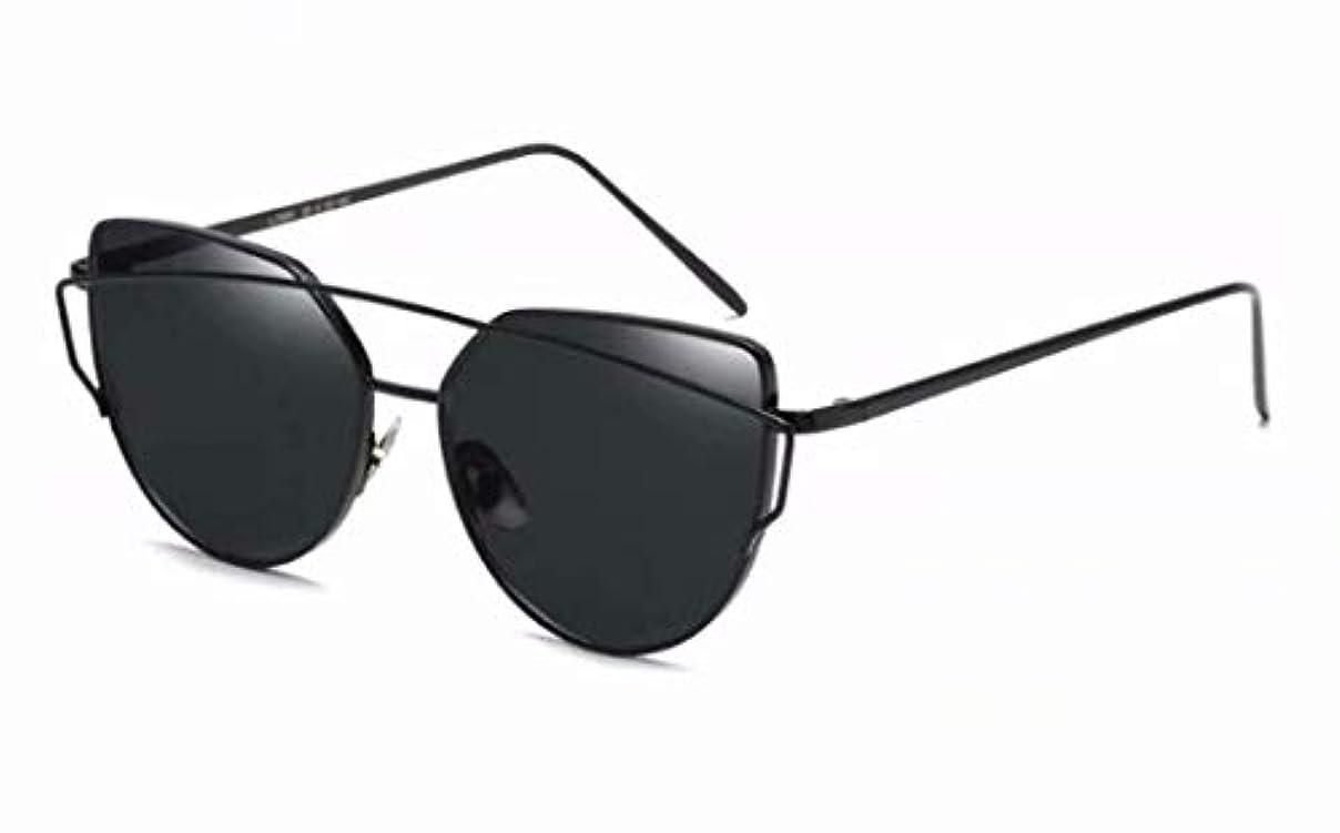 ニンニク驚カストディアン七里の香 キャットアイサングラス フラットレンズ メタルフレーム サングラス UV400フレーム