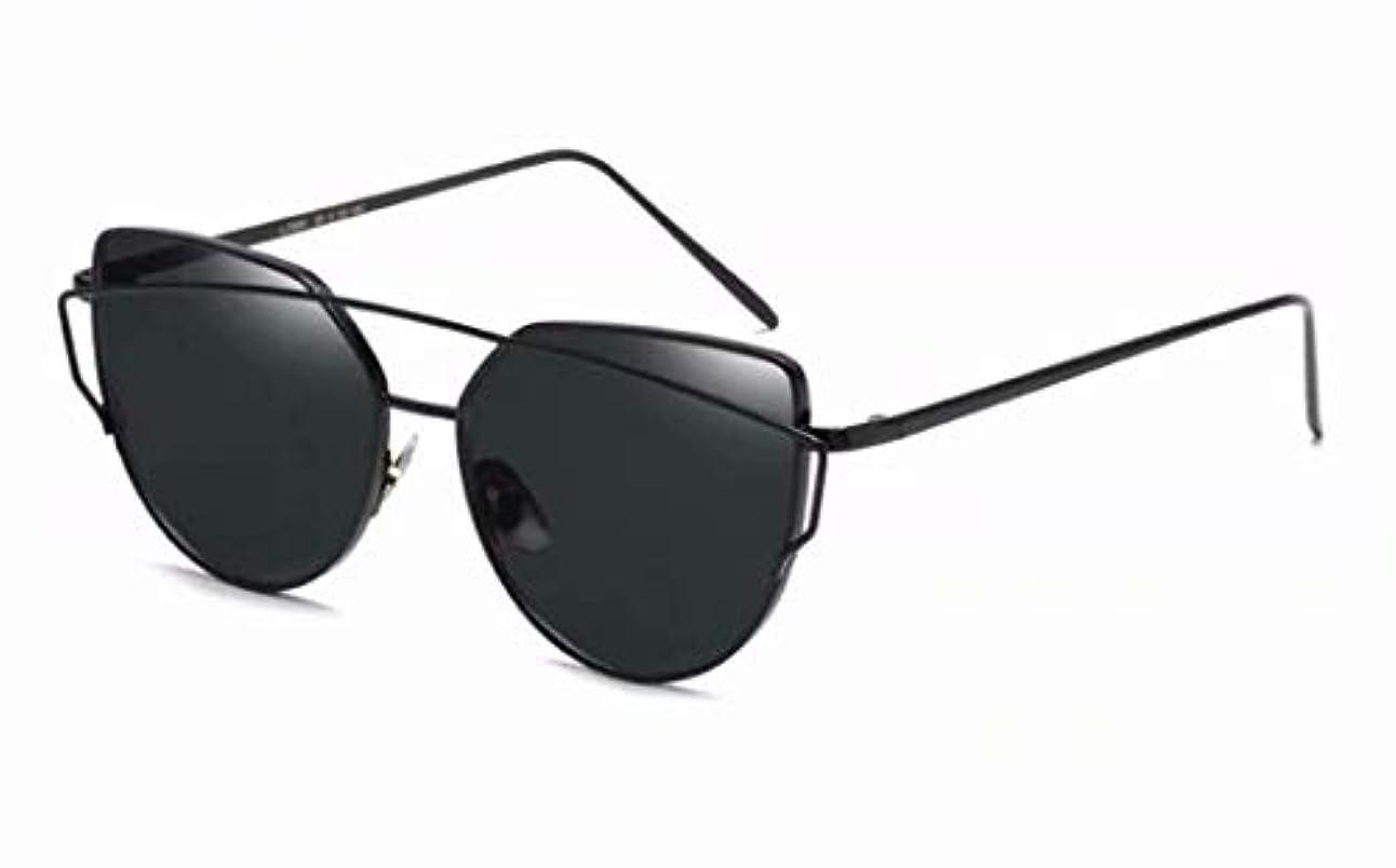 パースブラックボロウクレタレジ七里の香 キャットアイサングラス フラットレンズ メタルフレーム サングラス UV400フレーム