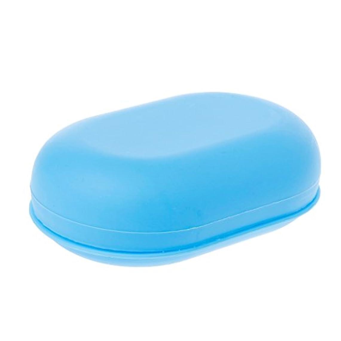 どんよりした押す居心地の良いLamdooポータブル旅行ホーム浴室のシャワーソープボックスプレート皿ホルダーケースコンテナブルー