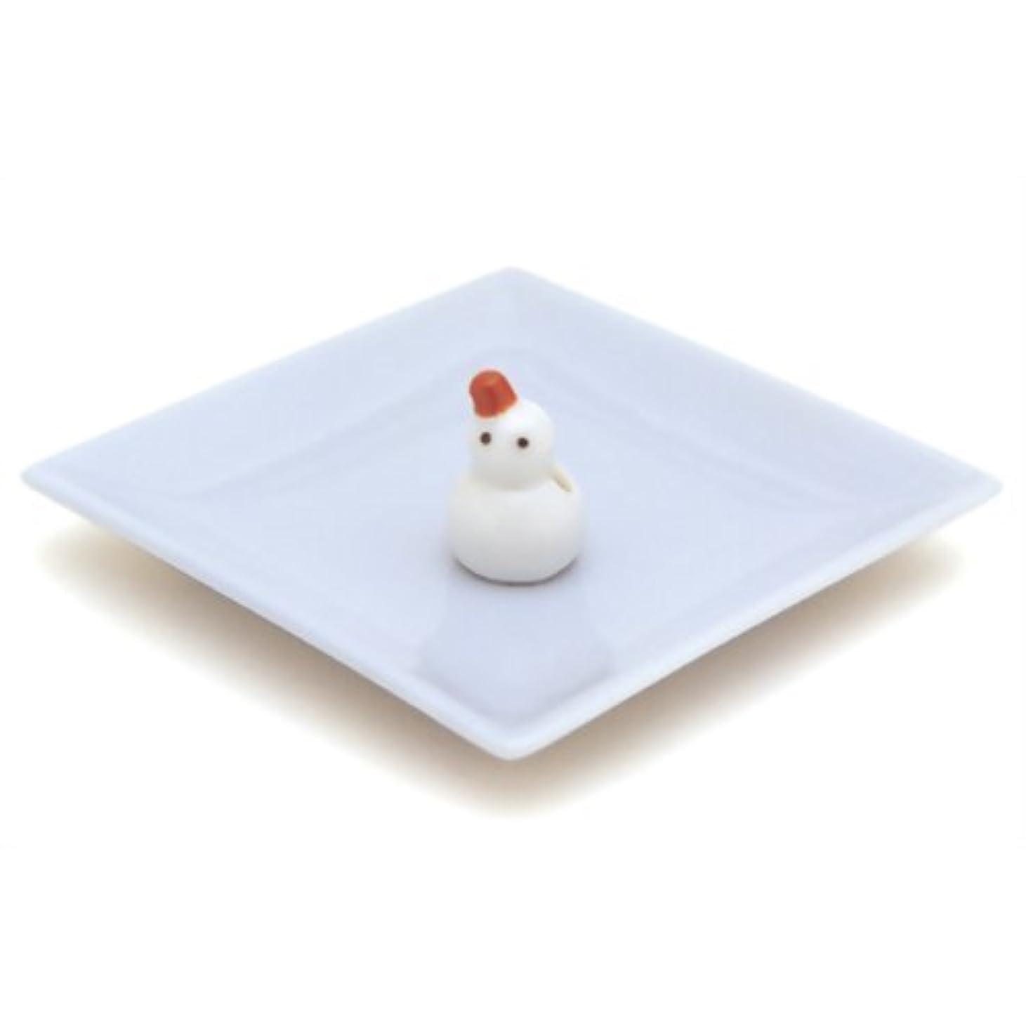 欠伸プーノライン陶器香皿&雪ダルマ香立