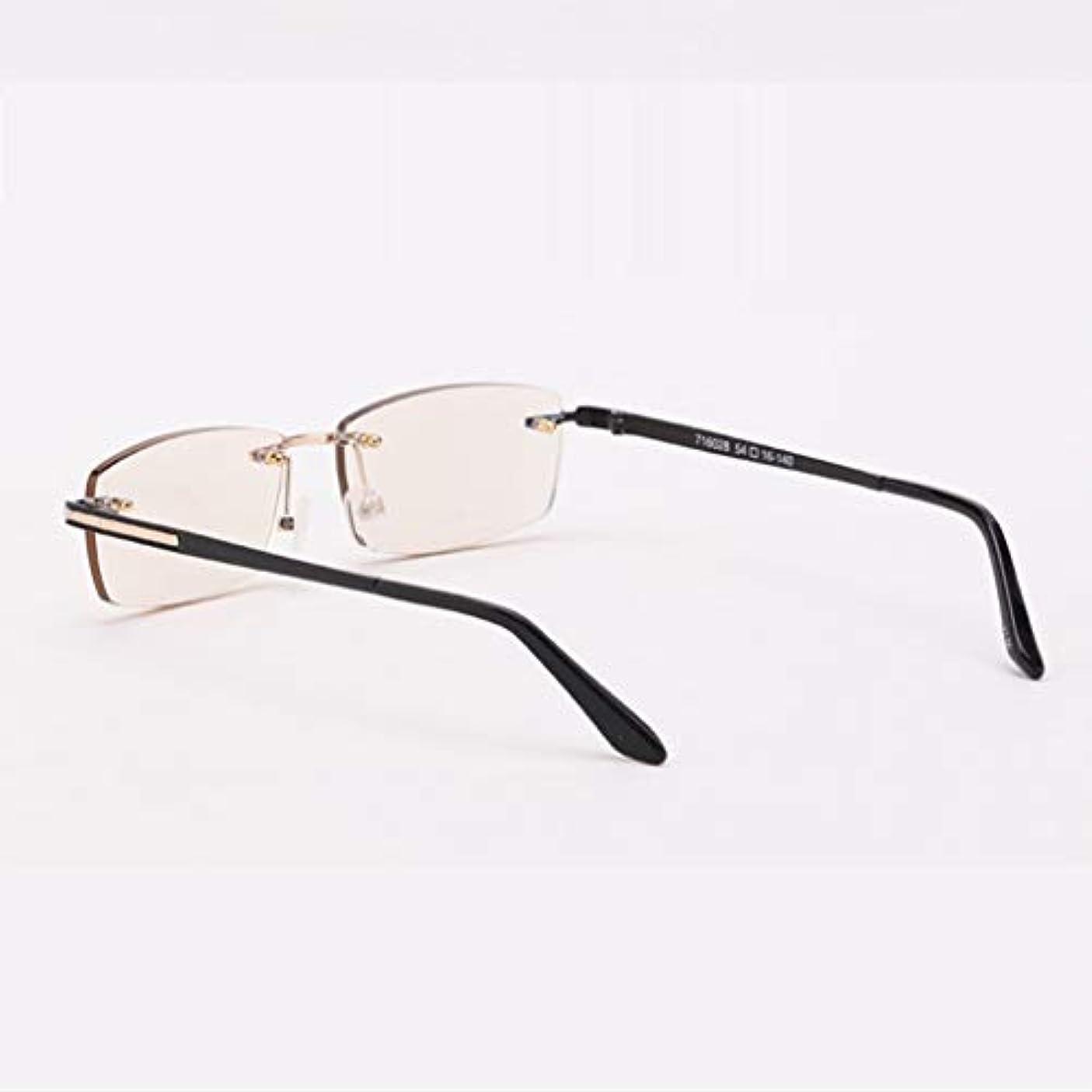 フレームレスデザインHDアンチブルー、アンチ放射線、抗疲労老眼鏡、ユニセックス。