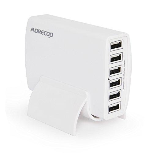 MORECOO 60W 6ポート USB急速充電器 acアダプター スマホ充電器 チャージャー iPhone/Android全世代 スマホ/タブレット対応 縦置きスタンド付き 正月 プレゼント (ホワイト)