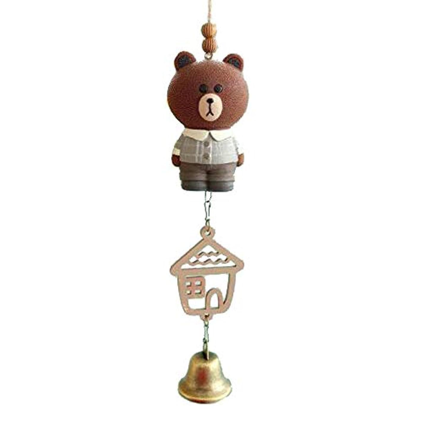 恒久的バンダイヤモンドJielongtongxun 風チャイム、クリエイティブかわいい動物風チャイム、ブラウン、サイズ22 * 5CM,絶妙な飾り (Color : Brown)
