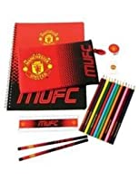 (Manchester United) - Ultimate stationery Sets: Various Football Club/Team Designs (Pencil Case, Notepad, Ruler, Pencils, Rubber and more) Ideal for school (Man Utd)