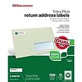 Office Depot ( R )ブランド100%リサイクル宛名ラベル、1/入れ物X 13/ 8in。、ホワイト、2000パック