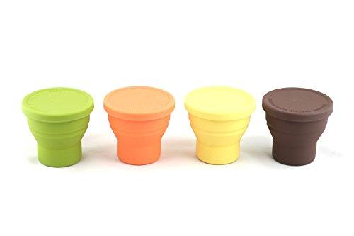 [Eco Silicone CUP] Folding magic cup 200ml 折りたたみ シリコン マジックカップ 全シリコン/人体に無害/高温でも環境ホルモンの排出無/電子レンジ、食器洗浄機、オーブン使用可能/滑り止め / シリコンマグカップ / 離乳食カップ / ミニタンブラー (Orange)