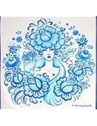 【Yurya Blinchik(ユリア?ブリンチク)】 タオルハンカチ「貴婦人とネコ」 ?グジェリ?ホフロマ柄 デザイングッズシリーズ?