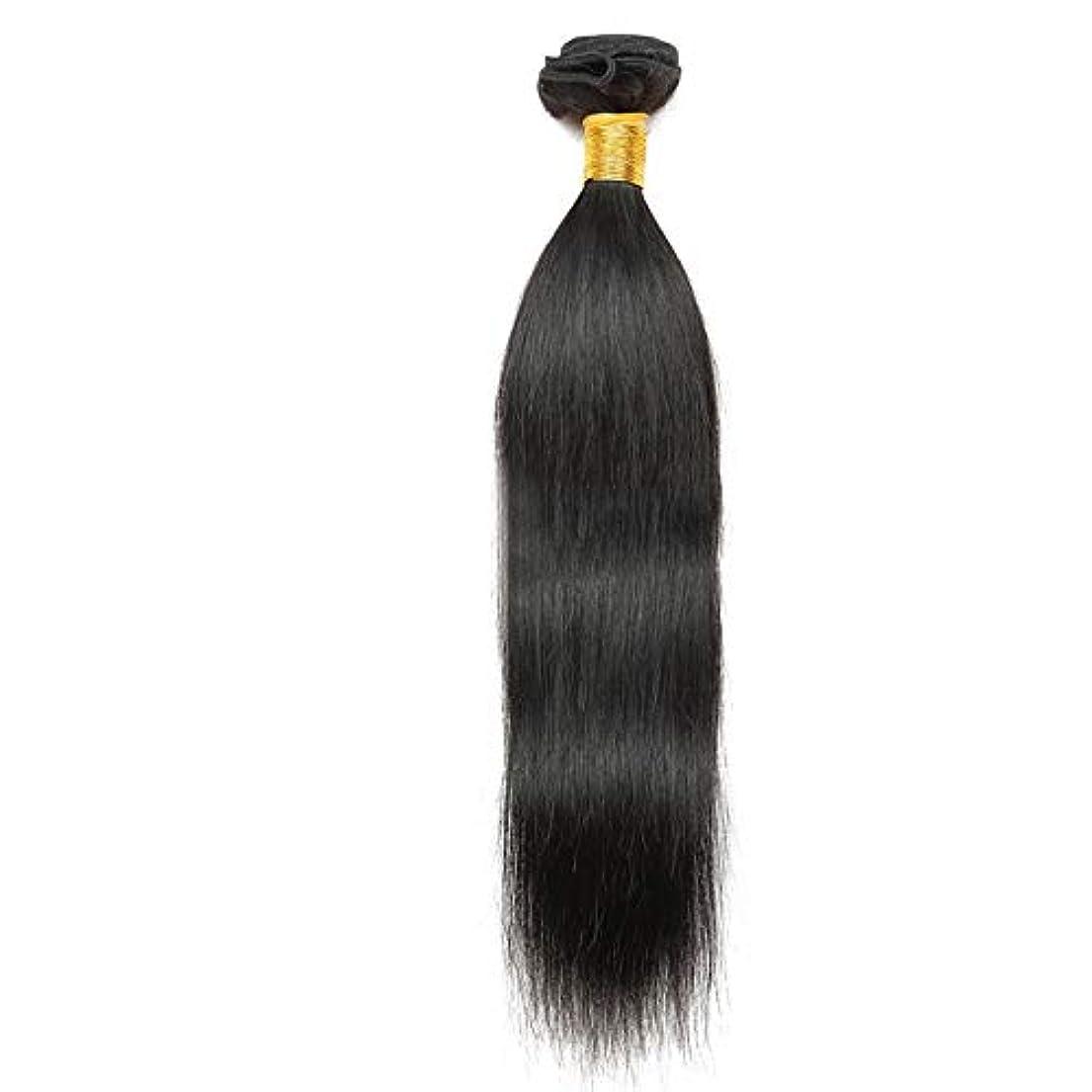 ものゼリーシダWASAIO ブラジルの髪ストレート人間織りブラジルシルキーリアルな色の10インチ?26インチ1バンドル (色 : 黒, サイズ : 16 inch)