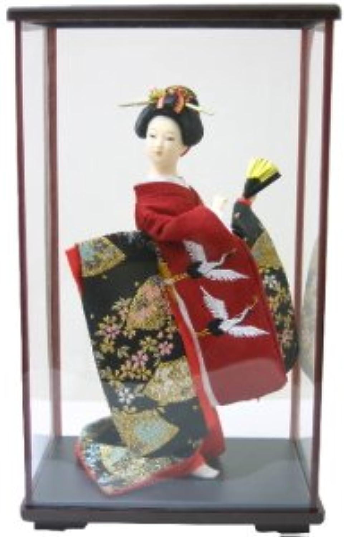 日本人形ケース入り 9インチ No.9-F 赤鶴 9inch Japanese Doll in Acrylic Case, Geisha Girl with Fan in carton box