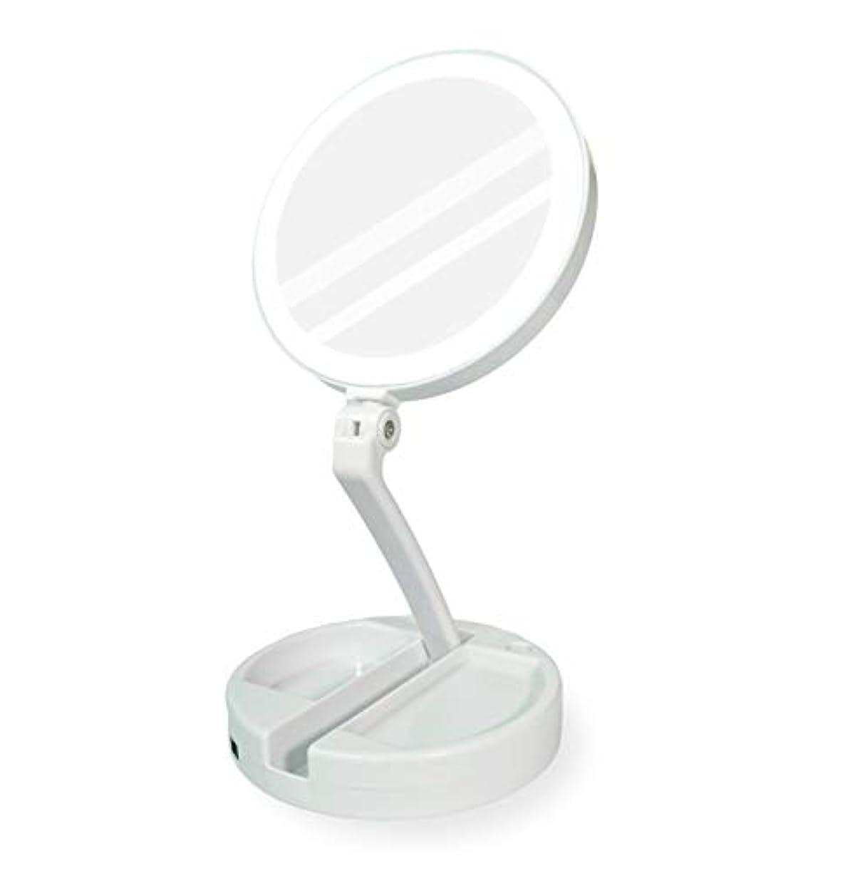 ツーリスト民主党天YEEZEN 両面拡大鏡 等倍と10倍拡大 化粧 無段調光 卓上鏡 ライト付き拡大鏡 化粧鏡 ライトつきミラー 折りたたみ式 360°回転 収納しやすい 鏡 led 拡大ミラー