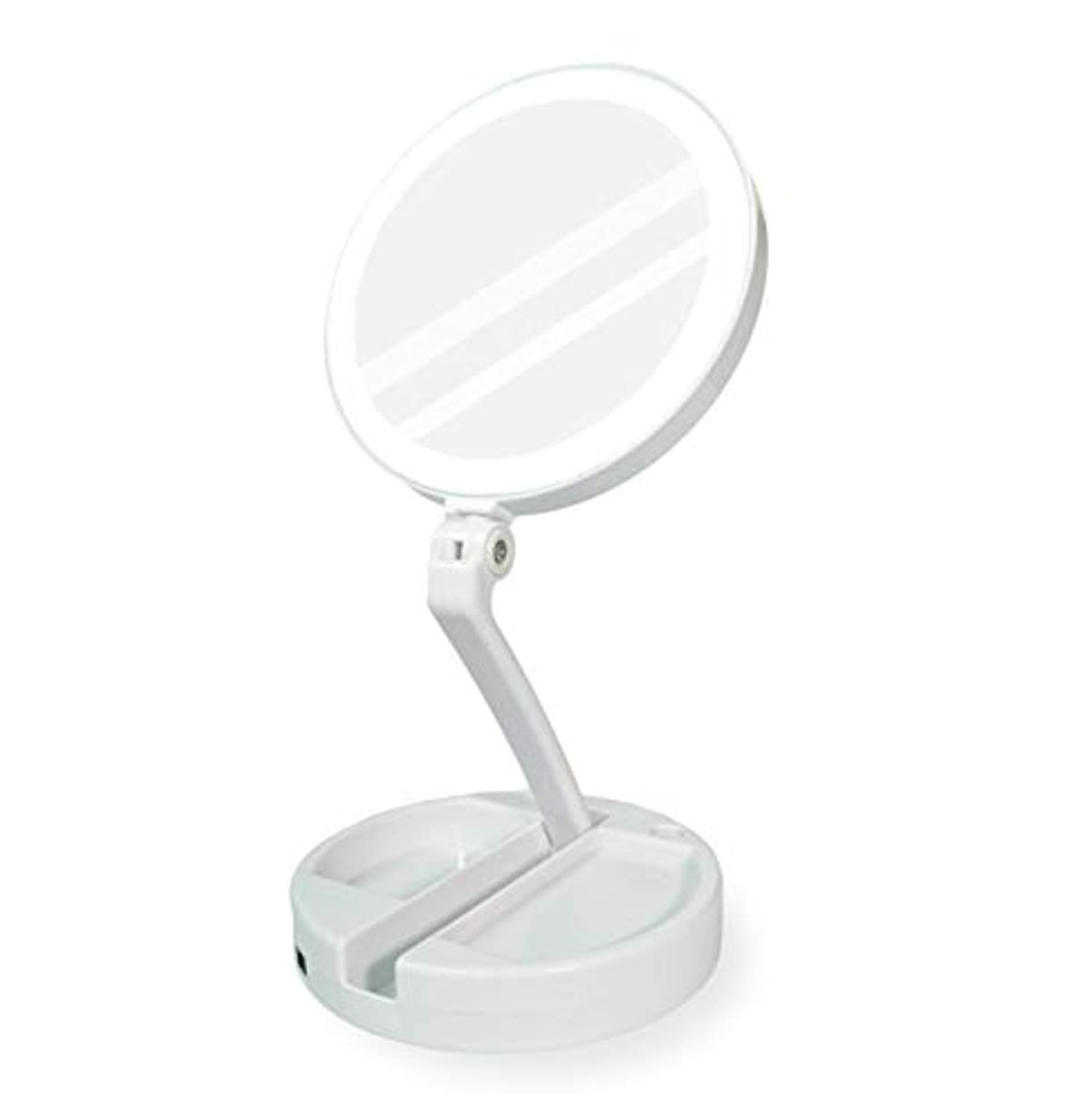チョークパーチナシティ規則性YEEZEN 両面拡大鏡 等倍と10倍拡大 化粧 無段調光 卓上鏡 ライト付き拡大鏡 化粧鏡 ライトつきミラー 折りたたみ式 360°回転 収納しやすい 鏡 led 拡大ミラー