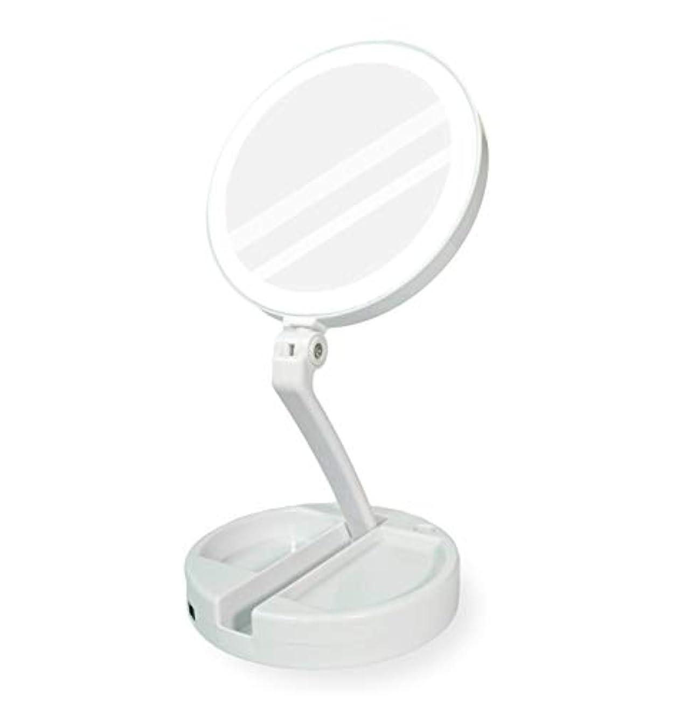 YEEZEN最新モデル 拡大鏡 化粧 無段調光 鏡 卓上 ライト付き拡大鏡 化粧鏡 等倍と10倍拡大 ライトつきミラー 折りたたみ式 360°回転 収納しやすい 鏡 led 拡大ミラー