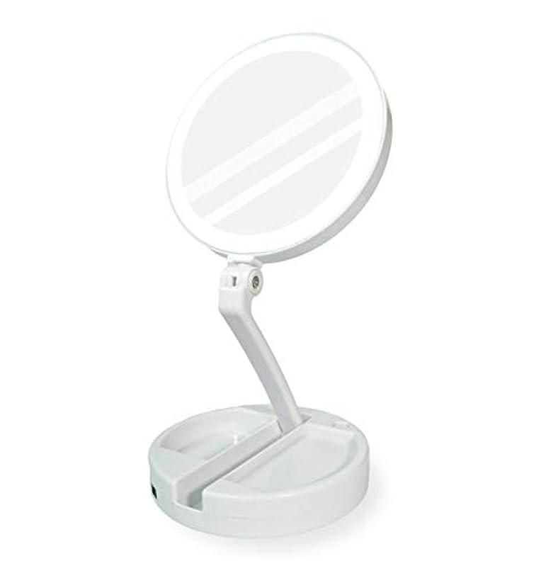 シンジケートなぞらえるサルベージYEEZEN 両面拡大鏡 等倍と10倍拡大 化粧 無段調光 卓上鏡 ライト付き拡大鏡 化粧鏡 ライトつきミラー 折りたたみ式 360°回転 収納しやすい 鏡 led 拡大ミラー