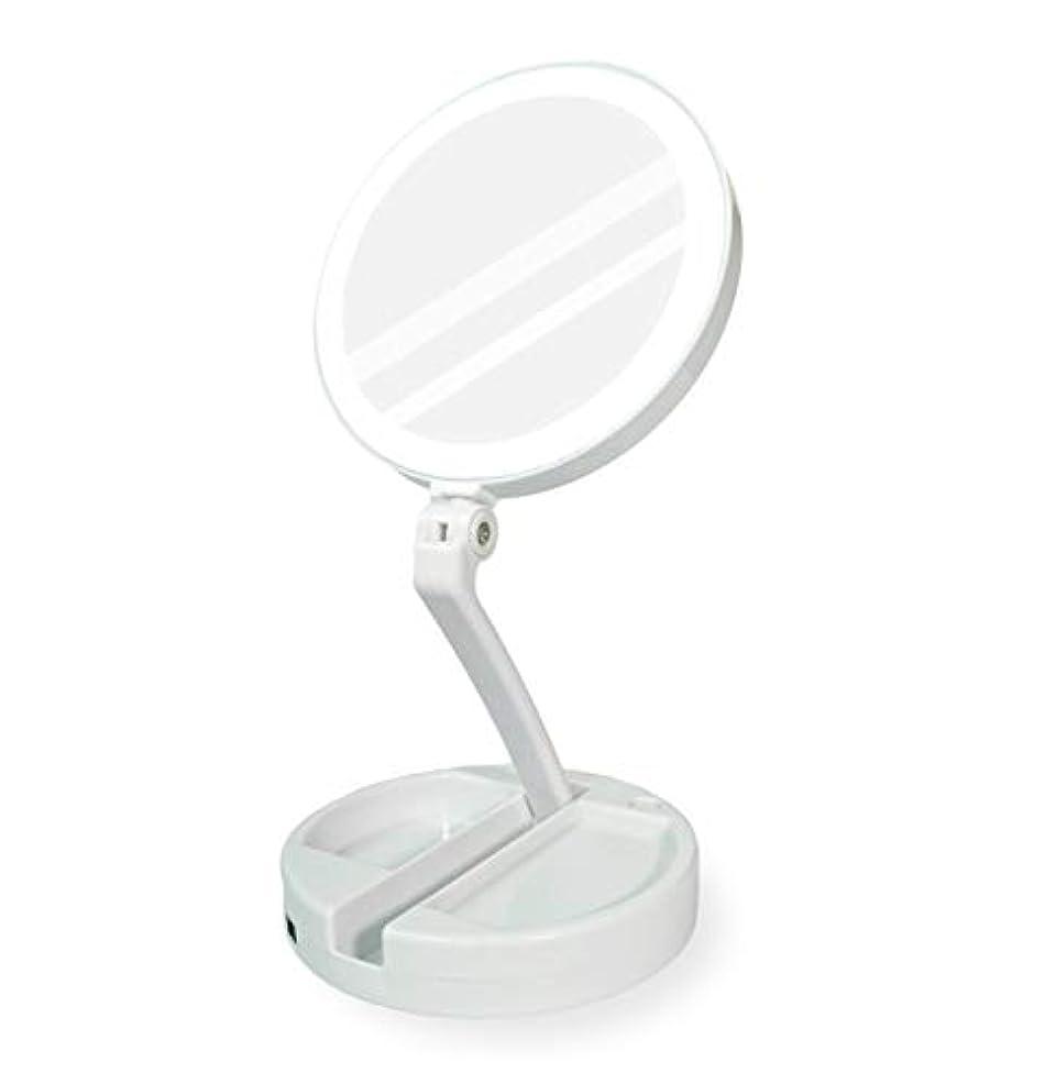 絡まる葉を集める唯一YEEZEN 両面拡大鏡 等倍と10倍拡大 化粧 無段調光 卓上鏡 ライト付き拡大鏡 化粧鏡 ライトつきミラー 折りたたみ式 360°回転 収納しやすい 鏡 led 拡大ミラー
