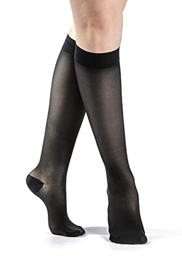石の刺繍自分自身Sigvaris Ever Sheer Knee High 20-30mmHg Women's Closed Toe Long Length, Large Long, Black by Sigvaris