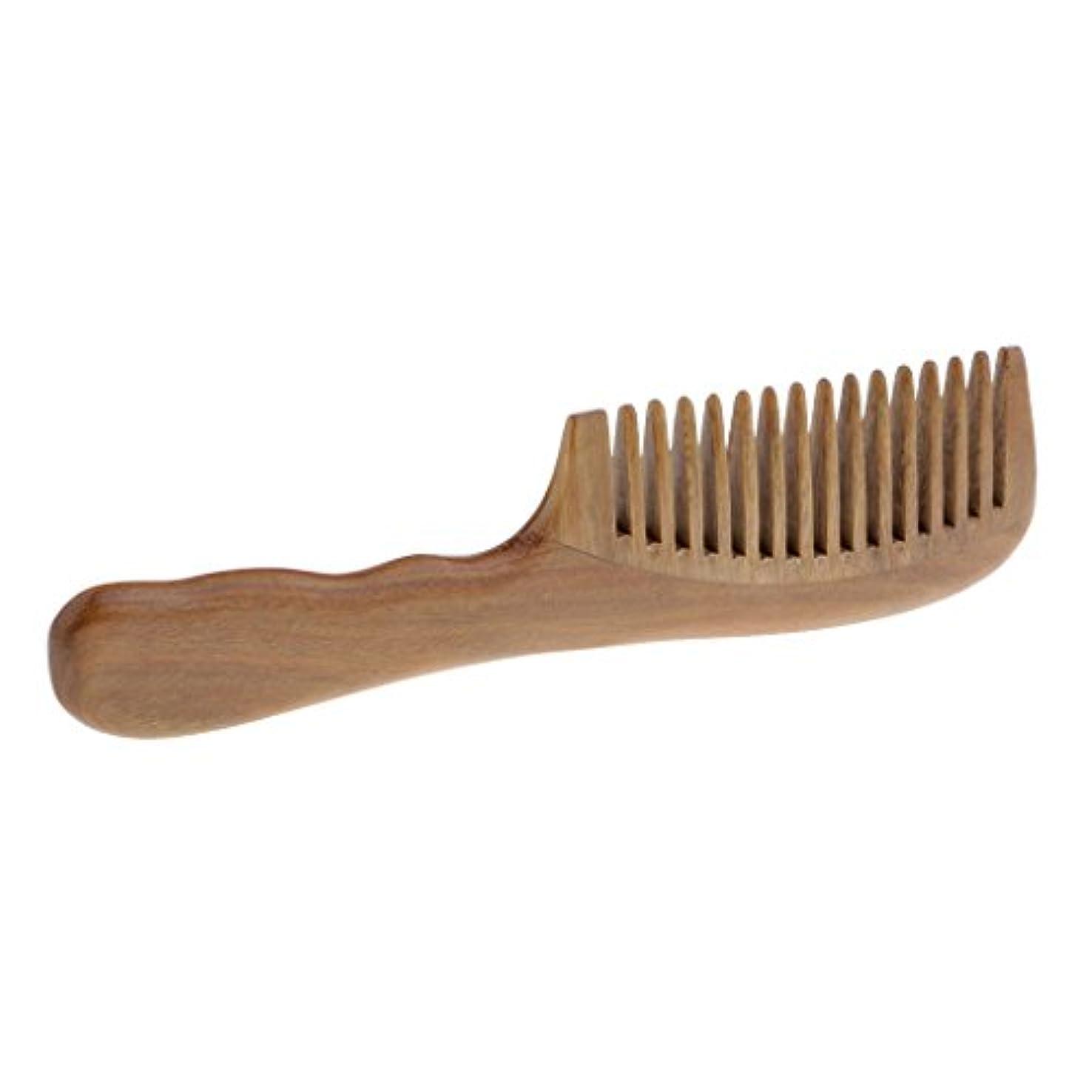 ピーク花婿浮くウッドコーム サンダルウッド 櫛 頭皮マッサージ 木製櫛 帯電防止 2タイプ選べる - 広い歯