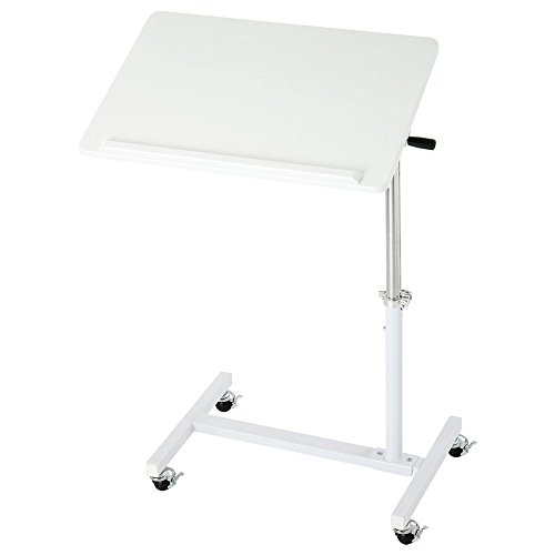 昇降式テーブル パソコンデスク 角度調節可能 サイドテーブル ミニテーブル ソファーサイド ホワイト