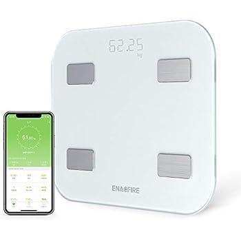 【進化版】体重計 体脂肪・体組成計 USB充電式体重計 Bluetooth対応 EnacFire 乗るだけで電源ON 体重/体脂肪率/体水分率/推定骨量/基礎代謝量/BMI/など簡単測定・同期 iOS/Androidアプリで 健康管理・肥満予防・体重管理 日本語取扱説明書付き ヘルスケア・Fitbit・Google Fitと連携 (ホワイト)