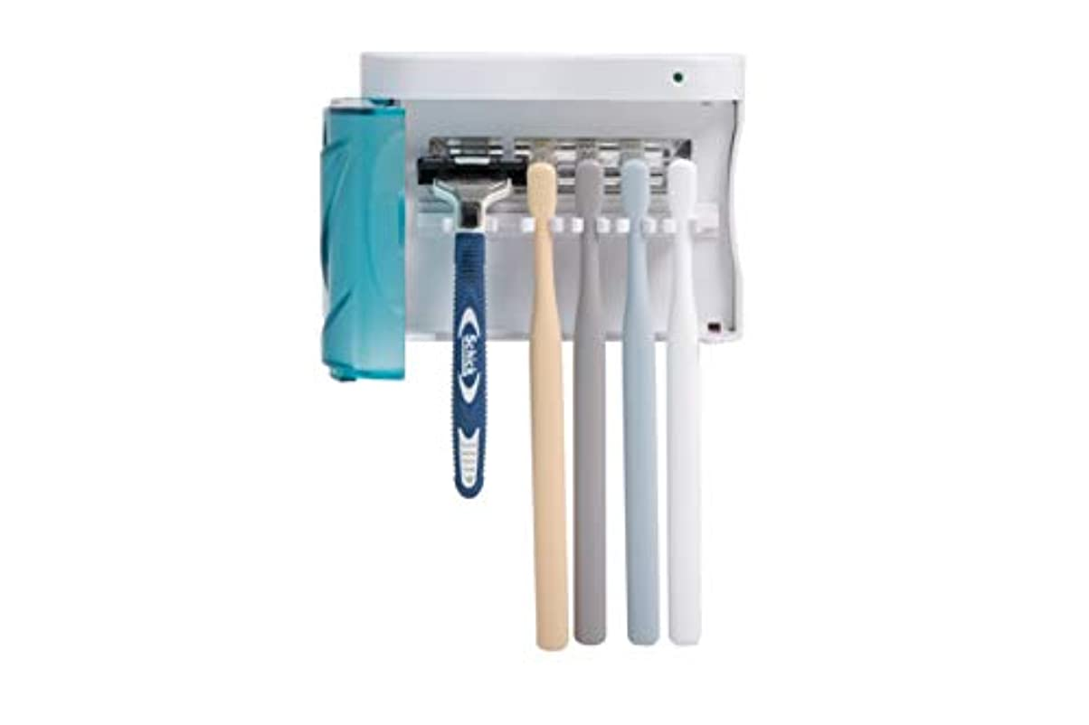冷ややかなほこり忠実なHITOP UV歯ブラシ除菌器、壁掛け式家庭用UV歯ブラシ除菌機、効果的な紫外線消毒、歯ブラシ収納ホルダー、電動ブラシにも適用、家族全員用 (家族全員用)