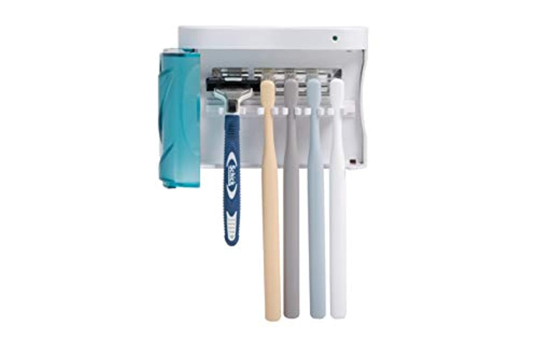 HITOP UV歯ブラシ除菌器、壁掛け式家庭用UV歯ブラシ除菌機、効果的な紫外線消毒、歯ブラシ収納ホルダー、電動ブラシにも適用、家族全員用 (家族全員用)