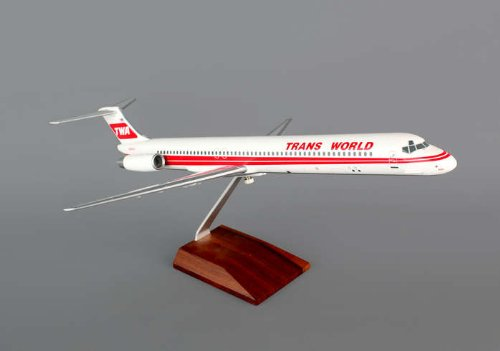 1: 100 スカイマークスSuprem TWA MD-80 Red Stripe Colors, with Landing Gear and Wood Display Stand (並行輸入)