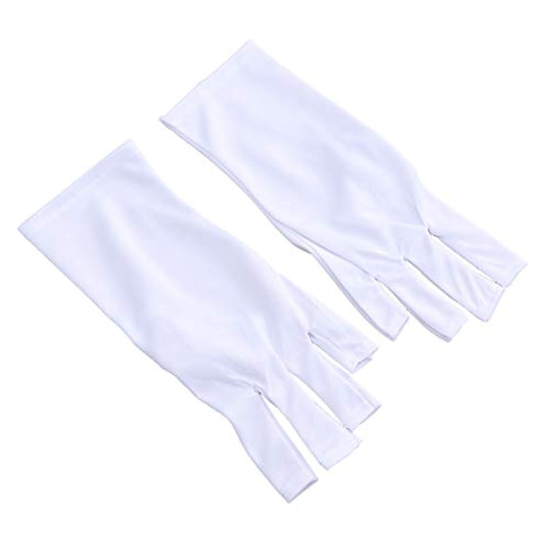 元気なスキル強打Frcolor 抗uv手袋 ネイル 手袋 ネイルアート グローブ ジェルネイル用 紫外線防止 マニキュアドライヤーツール 2ペア(25cm ショートホワイトUVグローブ)