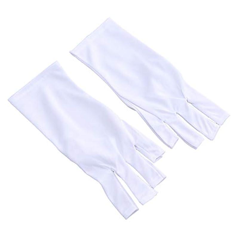 統計的成長マキシムHealify 抗uv手袋 手袋 ネイルアー 放射線防護 マニキュアドライヤーツール 1ペア (25 CMショートホワイトUVグローブ)