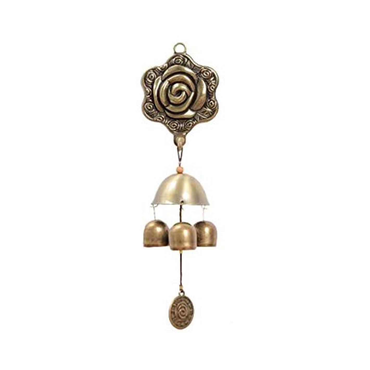 マラウイバンケット法王風チャイム、3つの純銅ベル、ホームデコレーション、蝶ローズメタル自吸式風チャイム、 (Color : 1, Size : 25cm)