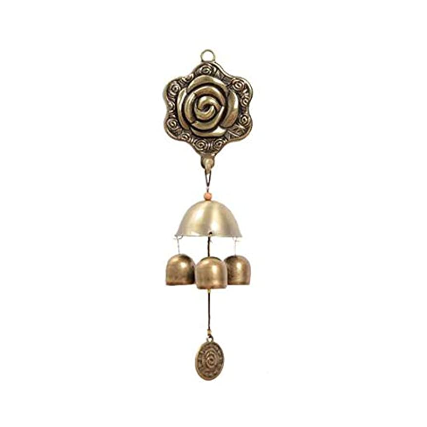 宝石沈黙ロードハウス風チャイム、3つの純銅ベル、ホームデコレーション、蝶ローズメタル自吸式風チャイム、 (Color : 1, Size : 25cm)