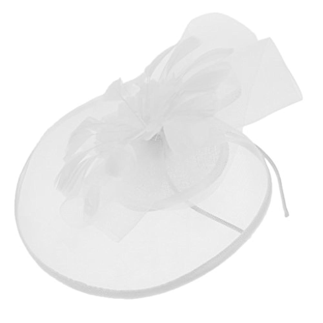野菜聴覚怖がって死ぬ教会帽子 カチューシャ 髪飾り ヘアクリップ レディース 魅惑 人工羽毛 全5色 - 白