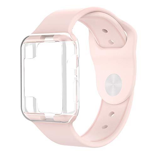 コンパチブル Apple Watch バンド 42mm/44mm スポーツ ケース付き 耐衝撃 柔らかく 一体式 Series 1 2 3 4 対応 アップルウォッチベルト (42 / 44 mm, ピンク)