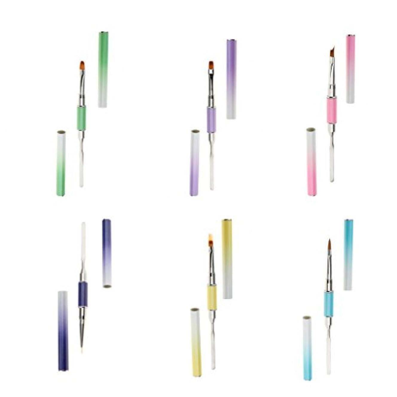 ケーブルカー花火条件付きInjoyo 6ピース/個/パック異なるスタイルのネイルアート装飾ペン、両端ネイルマニキュアUV、ジェルライナーポリッシュブラシペン