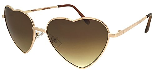 (PAGEBOY) パーティグッズ サングラス py2602 2 ゴールド / ブラウン レディース ハート型 UVカット 紫外線対策 メタル 女性用