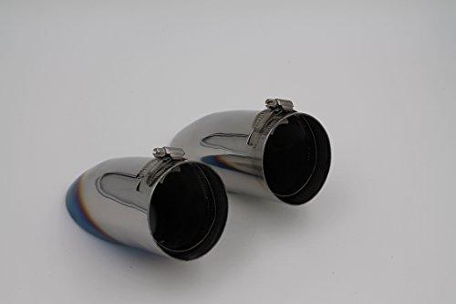 簡単 装着 ドレスアップ シルバー と チタン タイプ 下向き ステンレス シングル マフラー カッター 鏡面 全2タイプ TI022 (チタン風) ティーアイモール