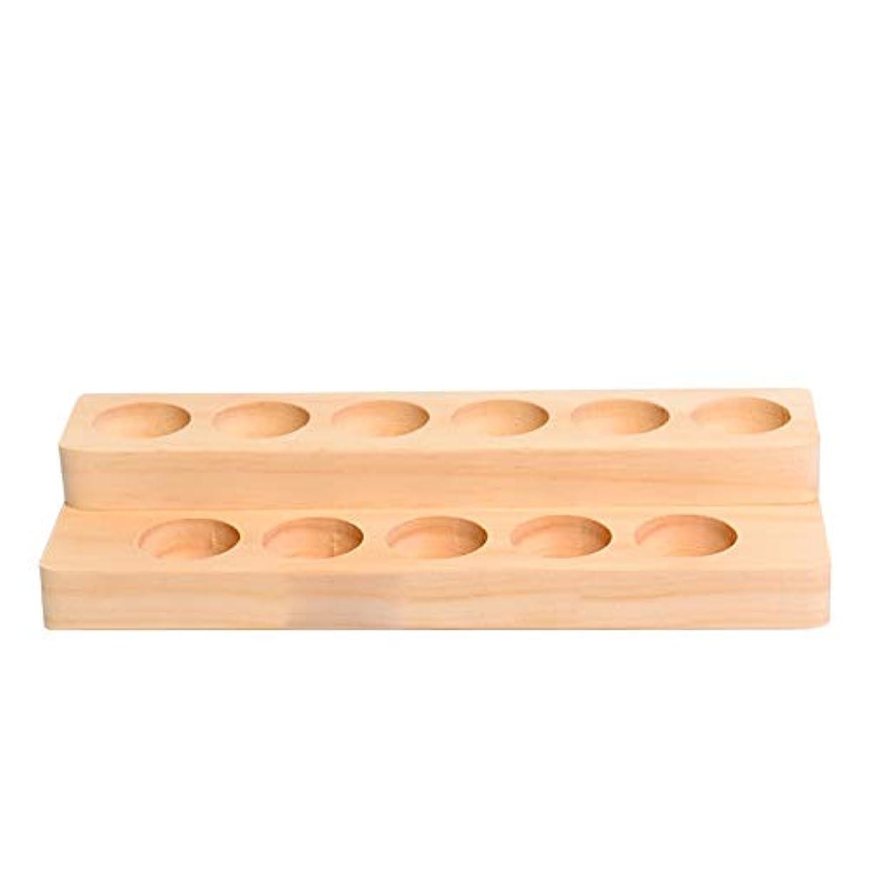 心理的盲信カバーエッセンシャルオイルの保管 11スロット木製エッセンシャルオイルストレージホルダーは、11の油が完璧なエッセンシャルオイルケースボトル開催します (色 : Natural, サイズ : 22X8.5X4CM)