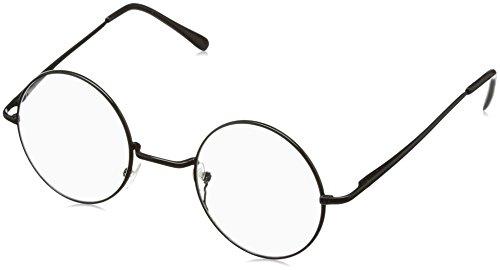 FREESE(フリーゼ) 丸型 クラシック サングラス UVカット ラウンド おしゃれ 伊達メガネ メンズ クロス&眼鏡ケース(クリア/ブラック)