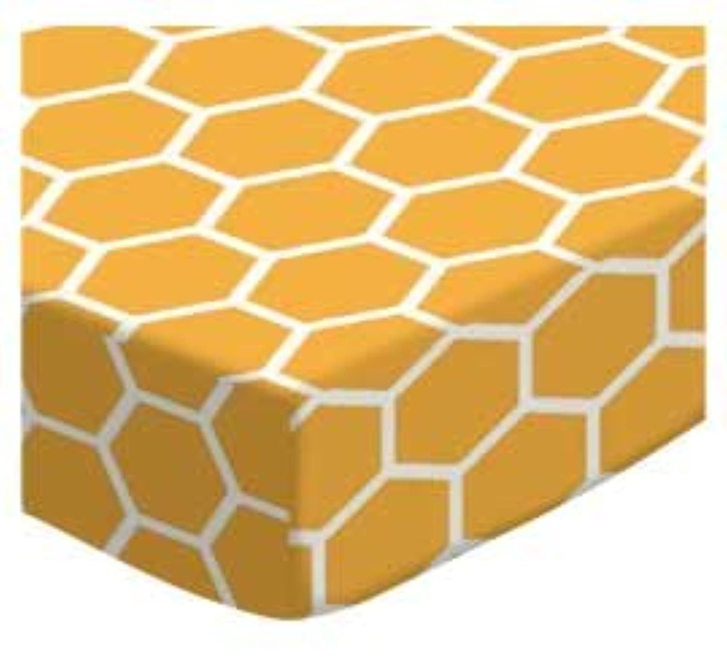 SheetWorld Fitted Cradle Sheet - Mustard Yellow Honeycomb - Made In USA by sheetworld