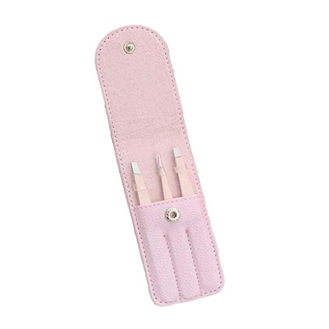 二次裂け目韓国眉毛ピンセット 毛抜き 眉毛クリップ ステンレス鋼 収納バッグ付 プロ用 家庭用 3個 全4色 - ピンク