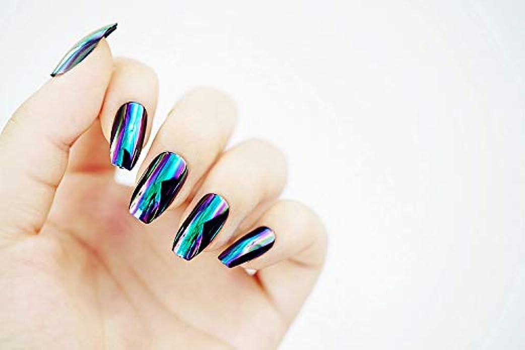 海嶺バーチャル孤独な欧米で流行るパンク風付け爪 色変化のミラー付け爪 24枚付け爪