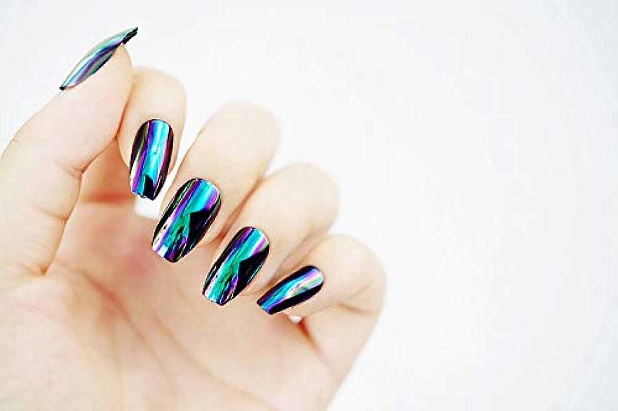 説明するインタビューエレクトロニック欧米で流行るパンク風付け爪 色変化のミラー付け爪 24枚付け爪