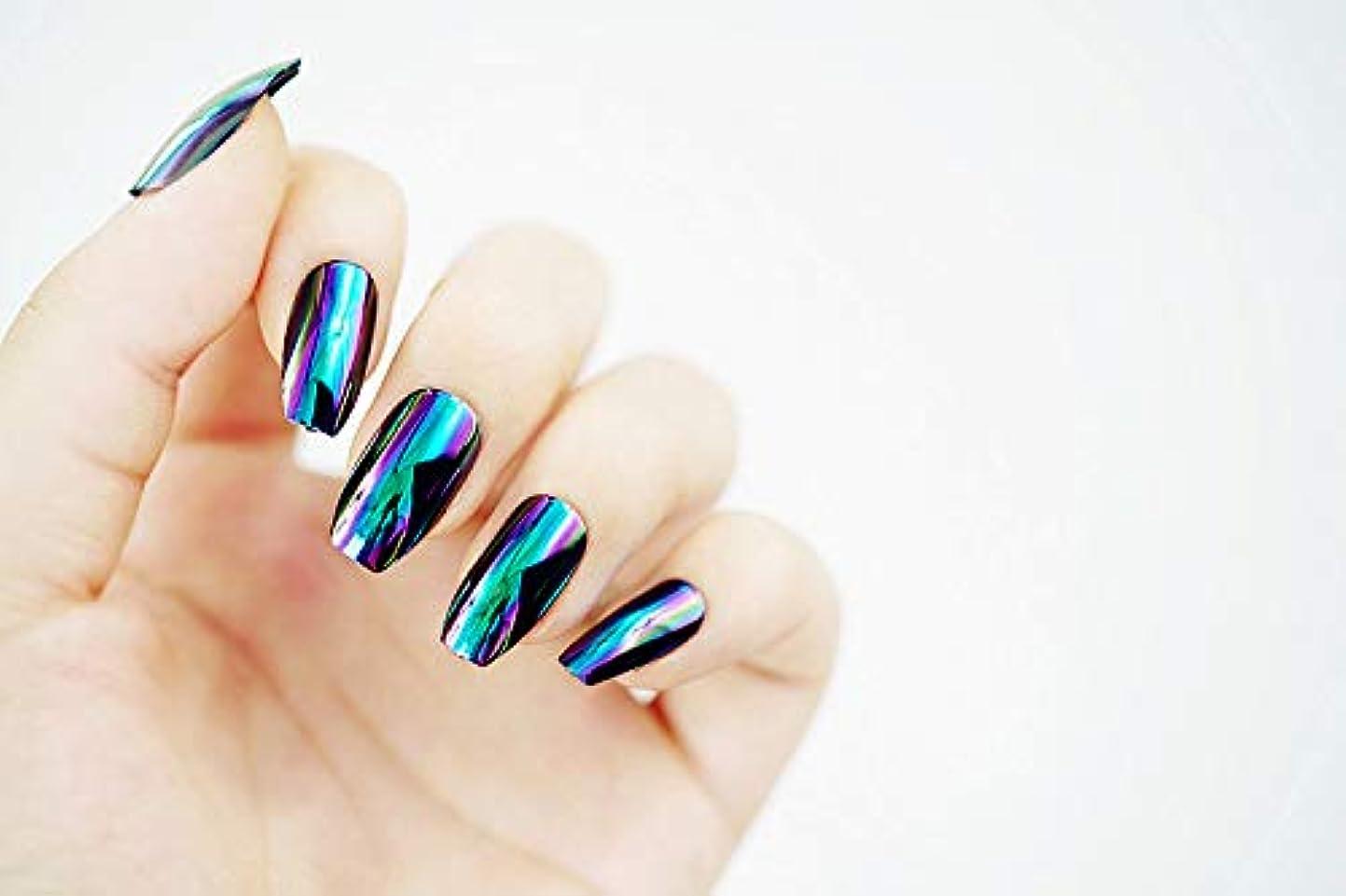 耐えるトライアスリートリーク欧米で流行るパンク風付け爪 色変化のミラー付け爪 24枚付け爪