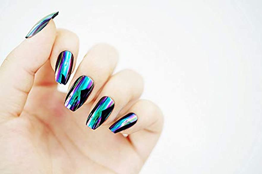 哲学真剣に天窓欧米で流行るパンク風付け爪 色変化のミラー付け爪 24枚付け爪