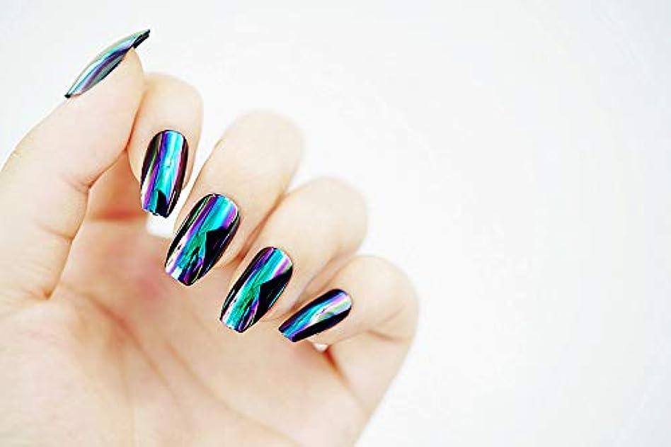 すべき呼びかけるレーニン主義欧米で流行るパンク風付け爪 色変化のミラー付け爪 24枚付け爪