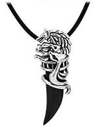 Honel ネックレス オオカミ牙 仕様 ステンレススチール製ペンダント 個性 瑪瑙 魔よけ/幸運のお守り メンズアクセサリー ブラック