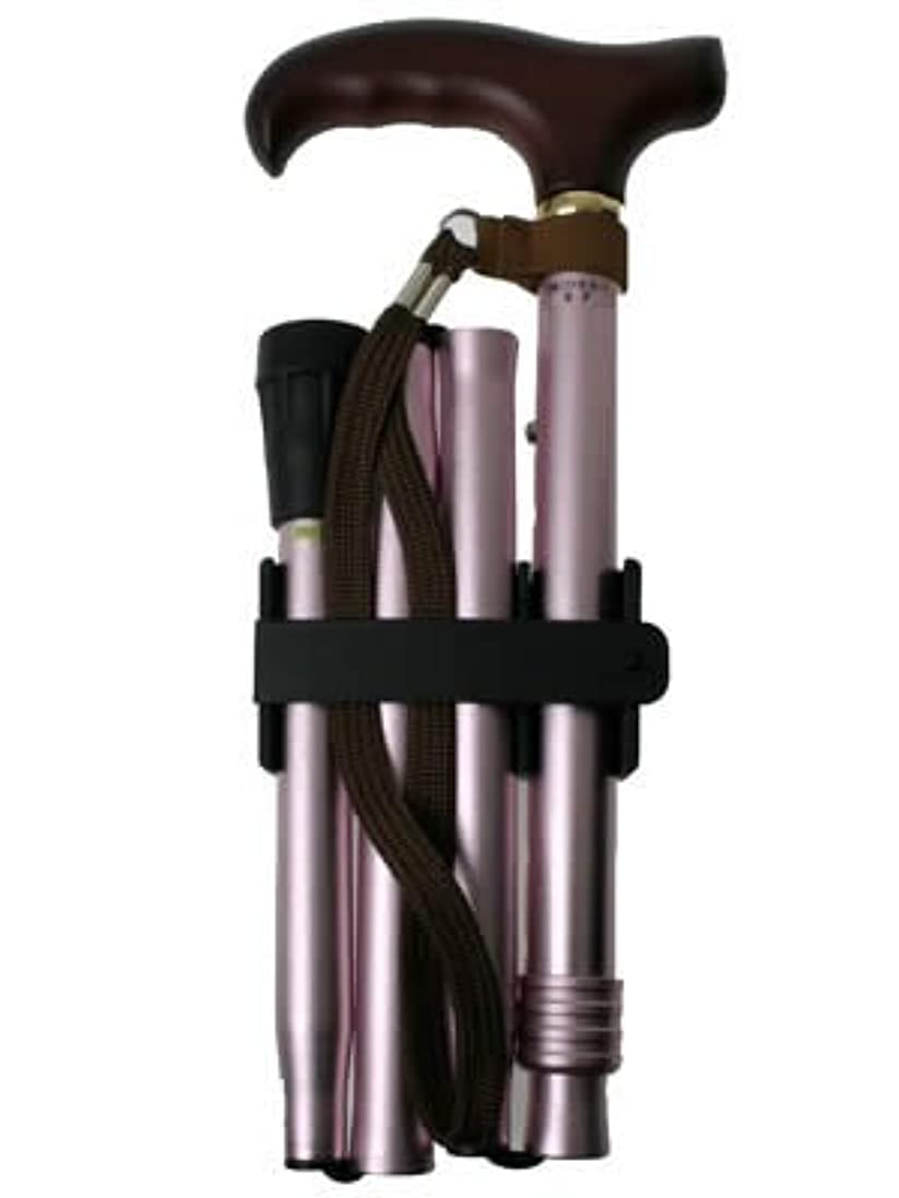 器具通り毒性ひまわり アルミ製 4つ折伸縮ステッキ ささえ ピンク V4400