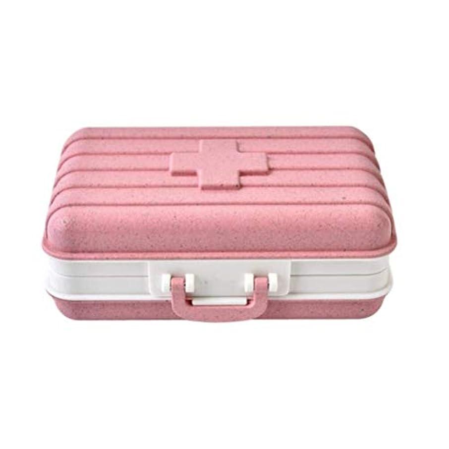 彼女の再集計立証するIVHJLP トラベルポータブルに最適な薬箱ホルダー収納オーガナイザーコンテナケース (Color : Pink)