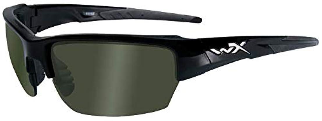 急いでビール二層Wiley X Saint Polarized Sunglasses Green Lens Black Frame [並行輸入品]