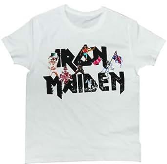 Rock Star Tシャツ  メタルバンド、アイアン・メイデンのロゴデザインTシャツ IRON MAIDEN (WHITE Sサイズ)